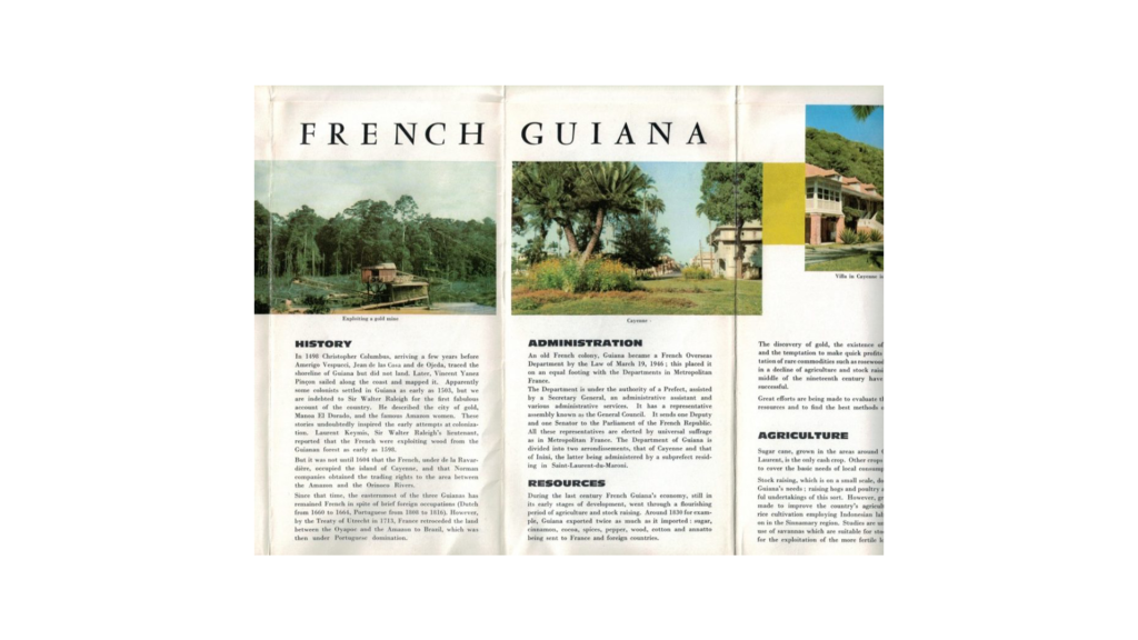 70s brochure promoting french guiana