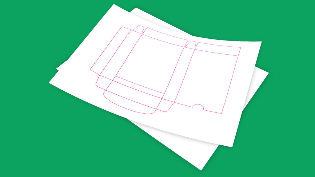 illustration of a dieline. Green background.