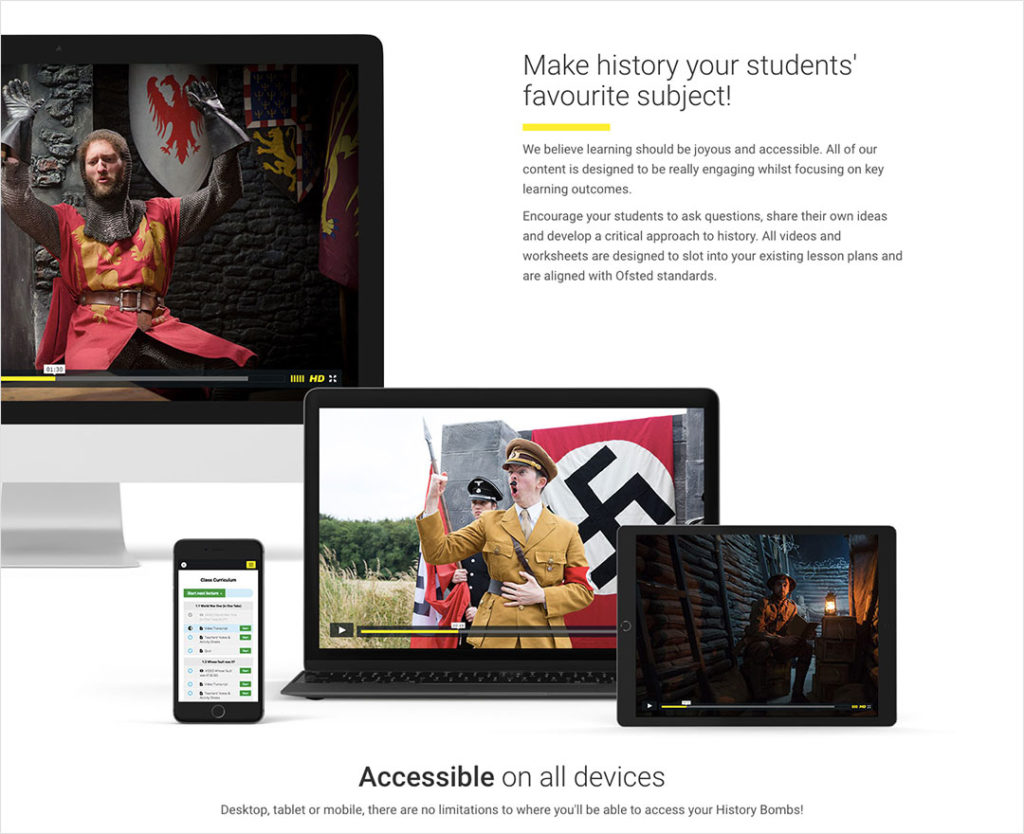website redesign out take from History Bombs