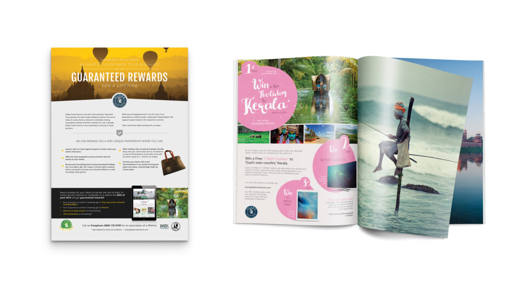 Example: leaflet yellow mockup on the left, brochure pink mock up