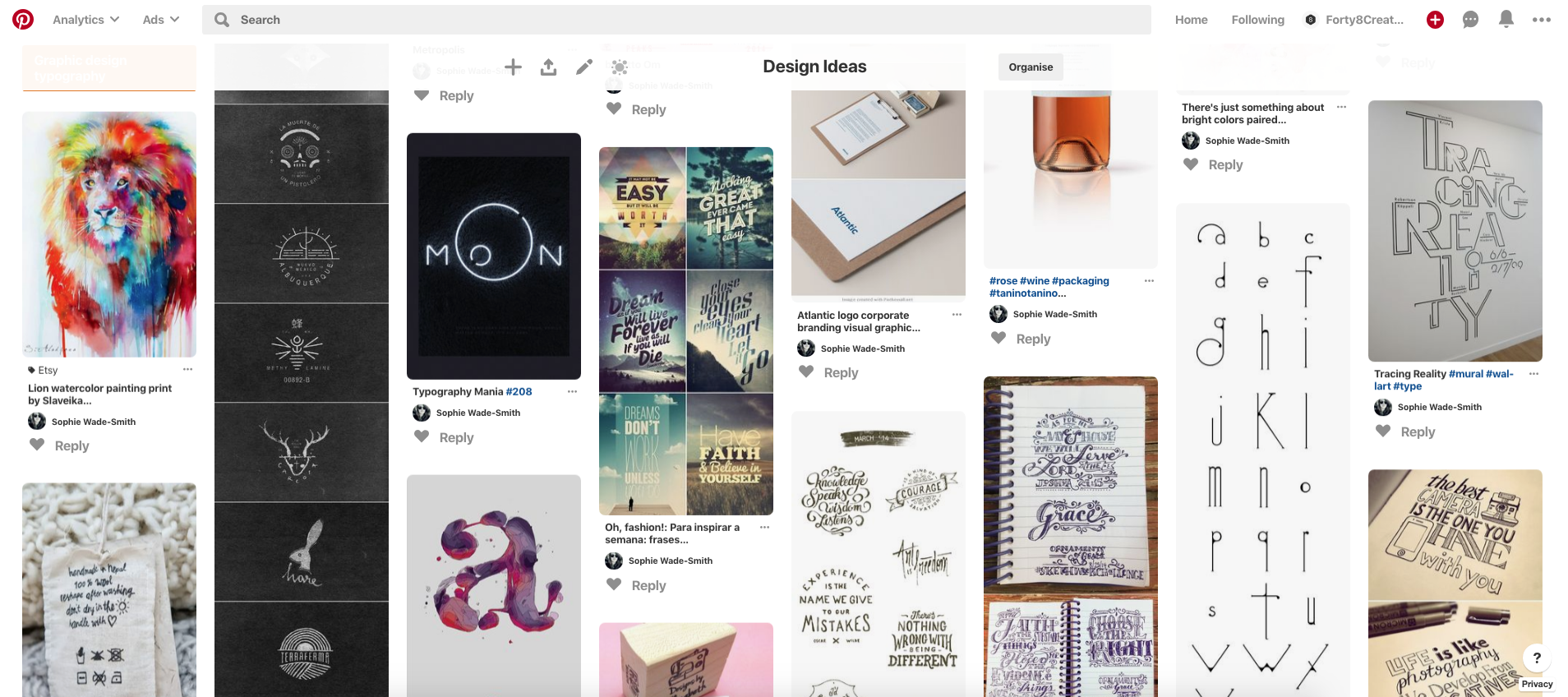 mood board pinterest forty8creates visual identity design ideas