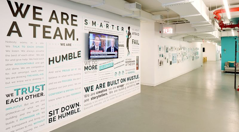 we are team office wall at Skimm office, forty8creates blog post-build internal company culture